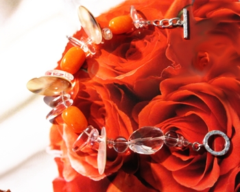 Saffron Joy bracelet with polished orange Quartz beads.