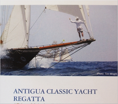 Scene from a poster advertising Antigua Classic Yacht Regatta during Antigua Sailing Week.
