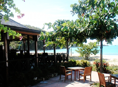The Dining venue at Hermitage Bay. What a spot for Lunch.