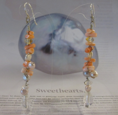 Pink Coral ear jewelry with colorful freshwater pearls.