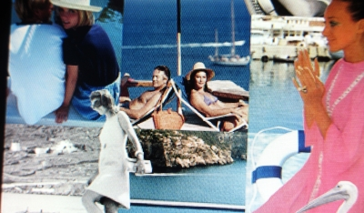 JetSet on Mykonos blue skies, blue ocean, white sail boats