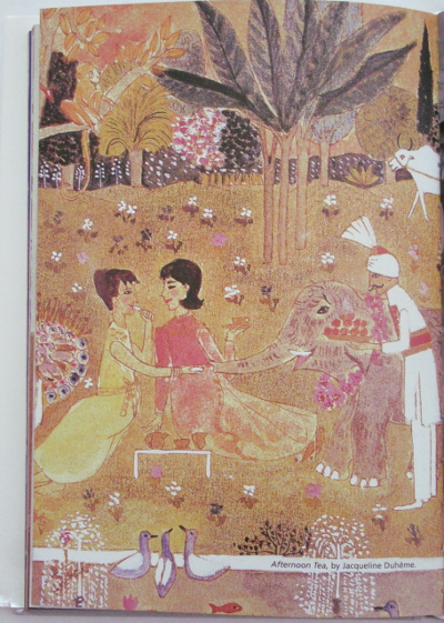 Lee and Jackie in a magical garden, illustration by Jacqueline Duhème