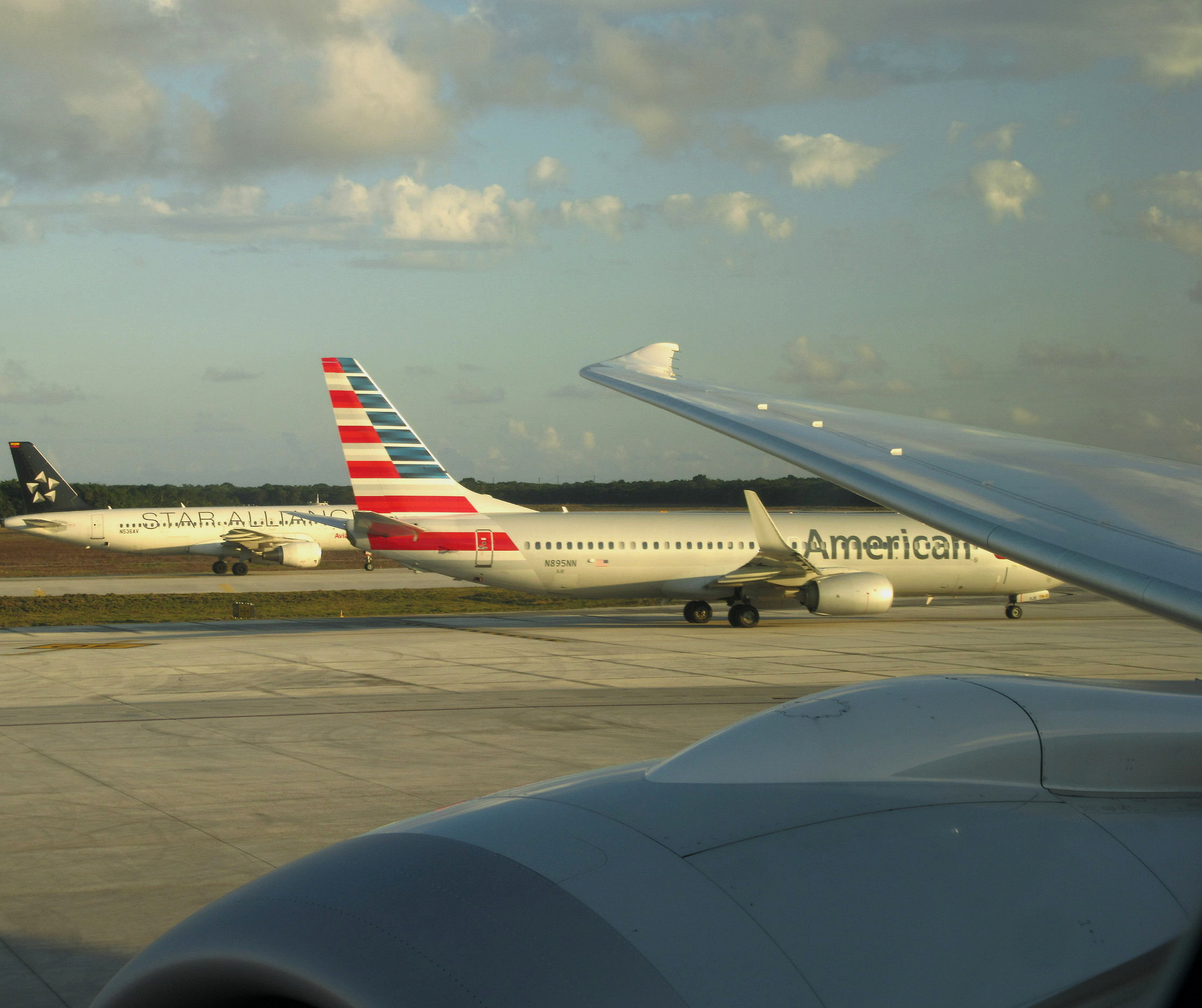 American Airlines  jet in Cancun just before take-off