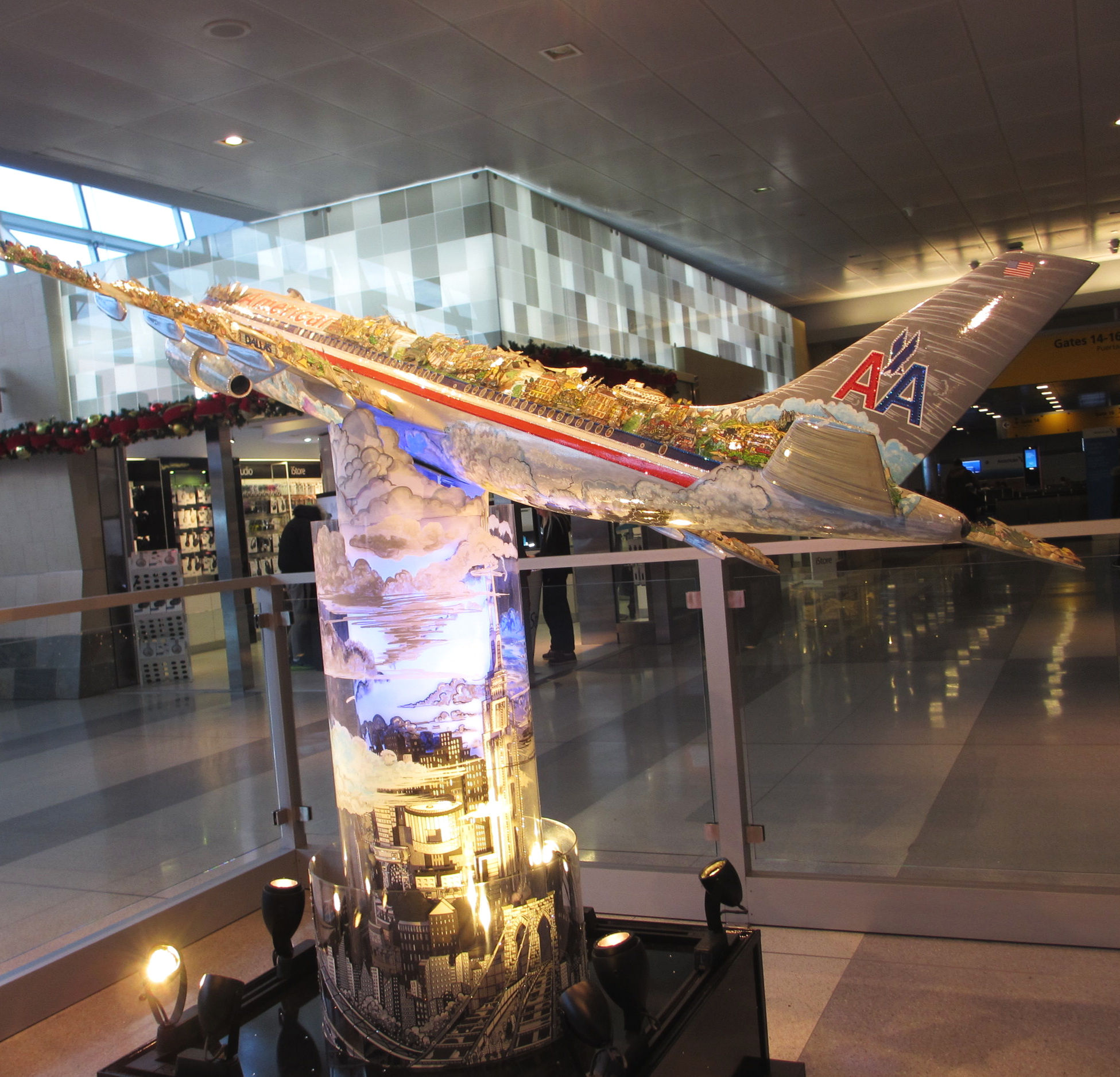 The AA sculpture at JFK takes you around the world in seconds