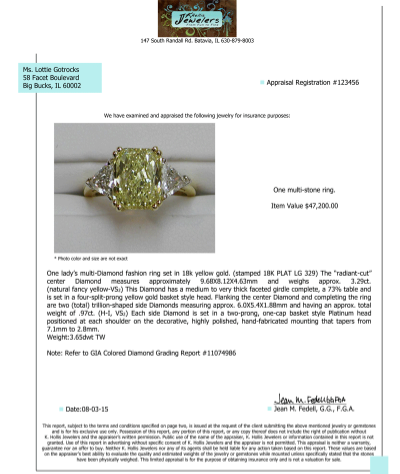 Sample Jewelry Appraisal