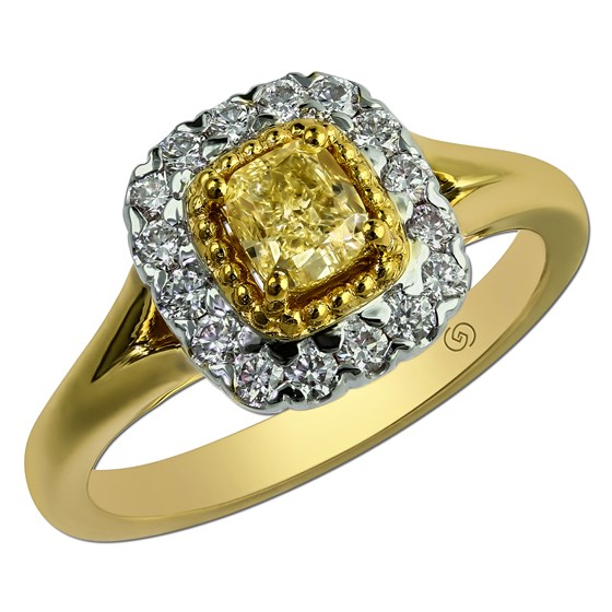 Elegant two tone cushion halo diamond Just Beginning engagement ring with a touch of vintage.