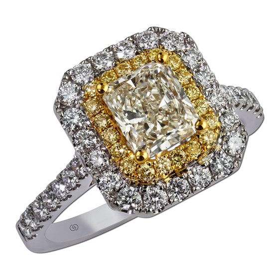 Shared prong fancy yellow diamond ring featuring a princess cut center diamond, surrounded by a halo of fancy yellow and white diamonds.