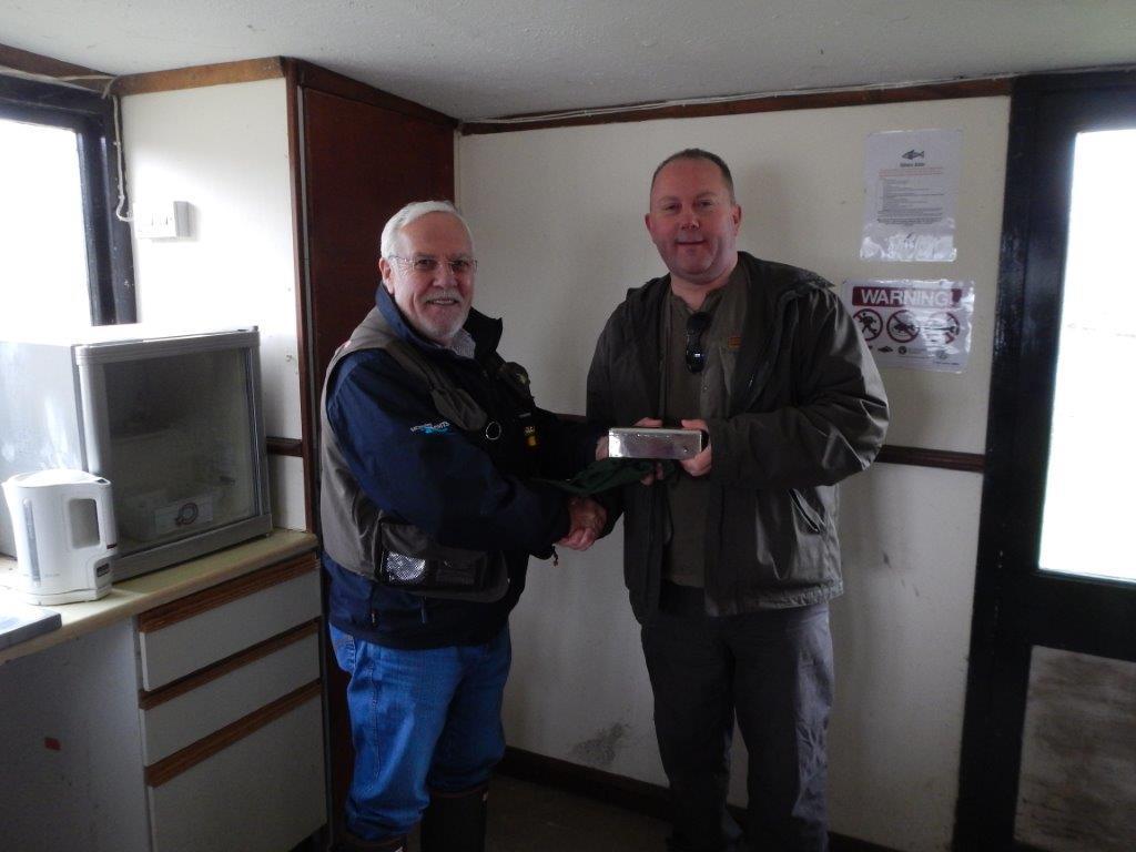 Alan Badcock presenting Monk Trophy to Keith Huxtable