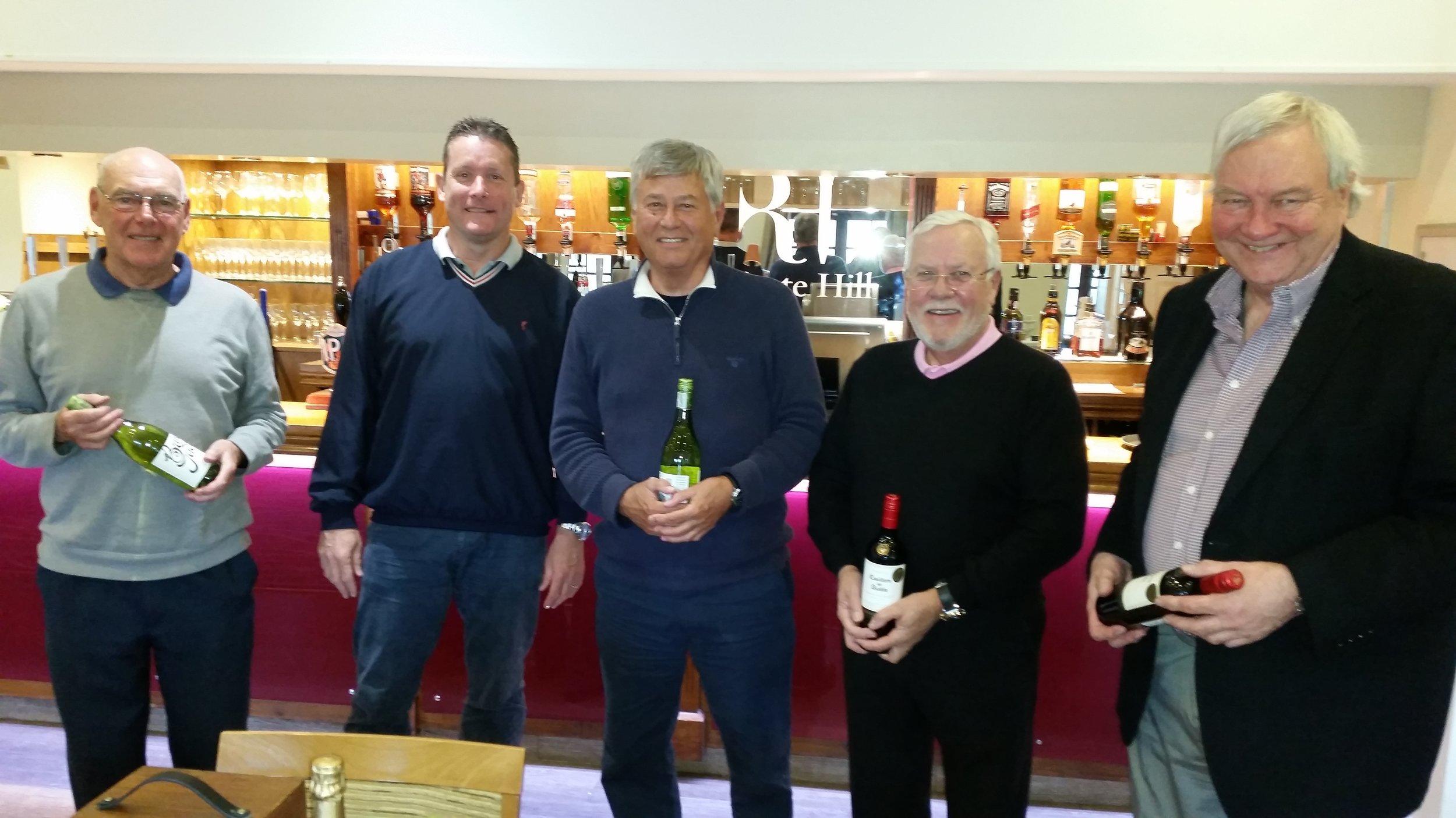 Yellow ball winners – Nigel/ Bob / Alan Badcock and Mike Jones + deputy Captain Rod Benwell