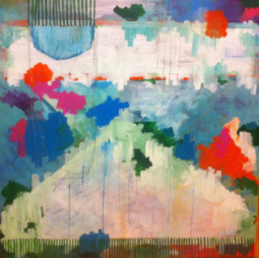 "acrylic and oil marker on canvas 3'x 3' ""magic hammocks""  *Sold"