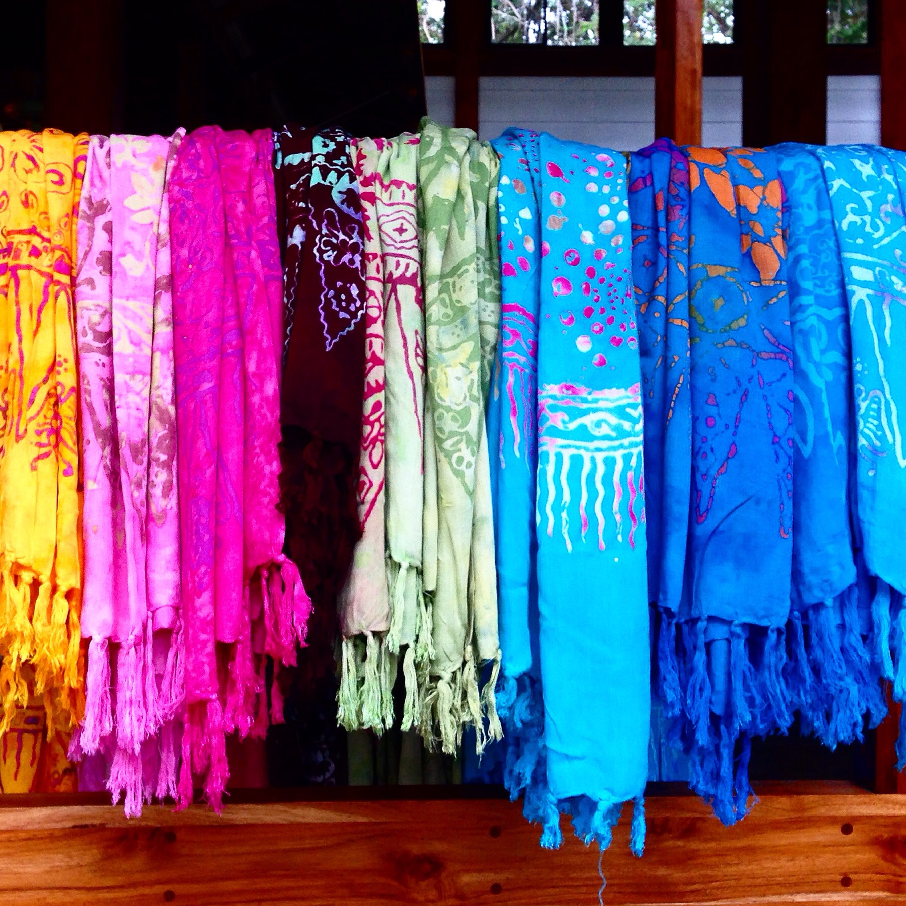 At lunch, we also sell snacks and sarongs - which are now housed in our new onsite shop. The vibrant colors match the level of joy at the Osa.