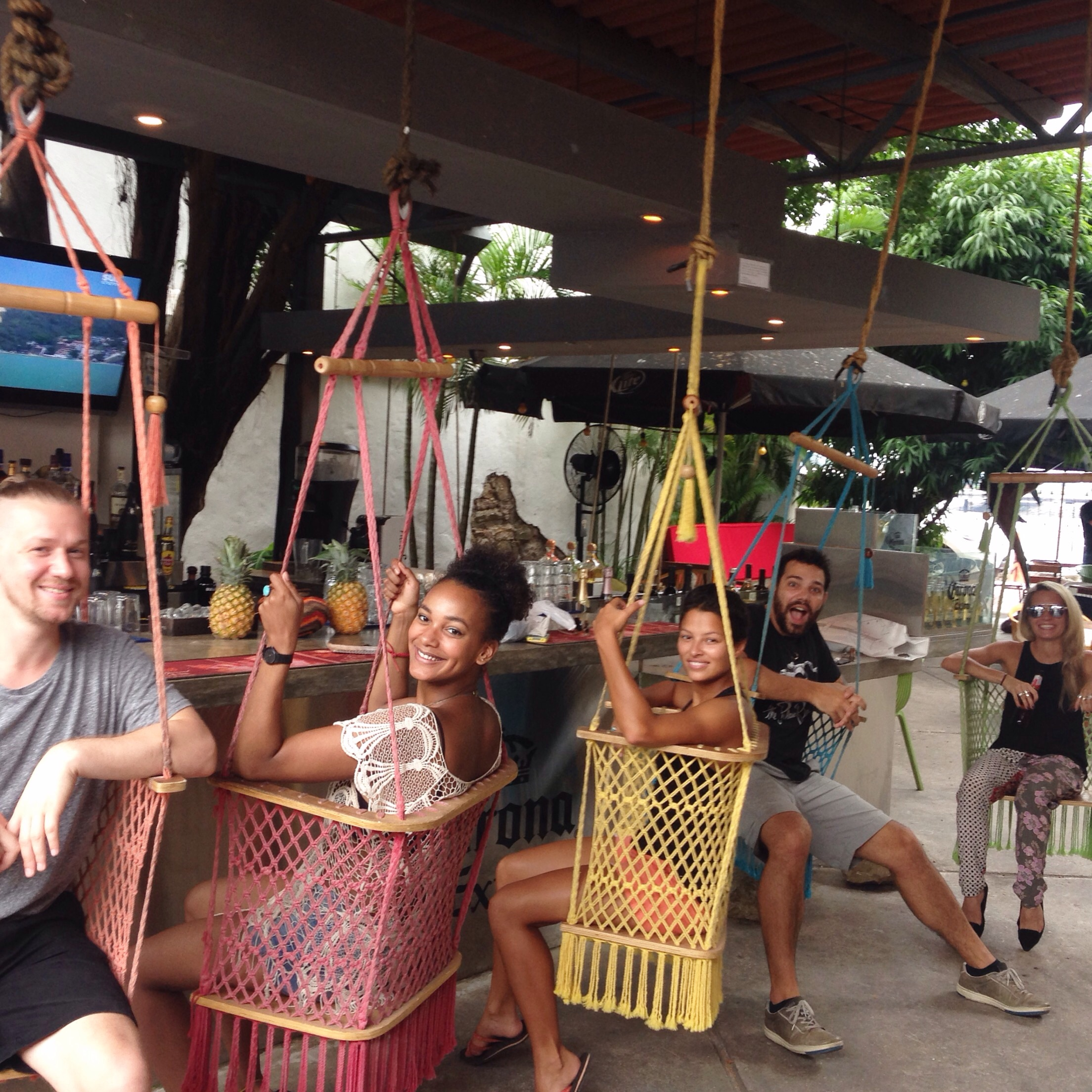 We met up with everyone at the Finca del Mar swing bar.