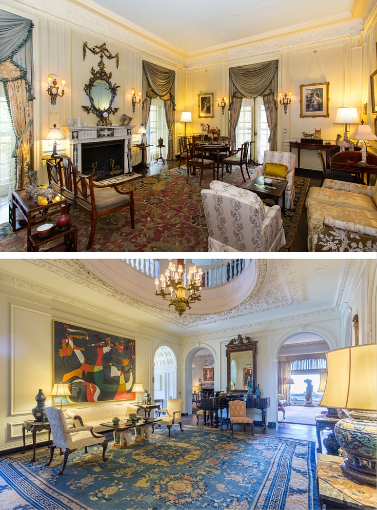Rockefeller Estate - Kykuit Tours - Kykuit Mansion: Interior  Photos by Jaime Martorano (Top: Women's Room, Bottom: Music Room)