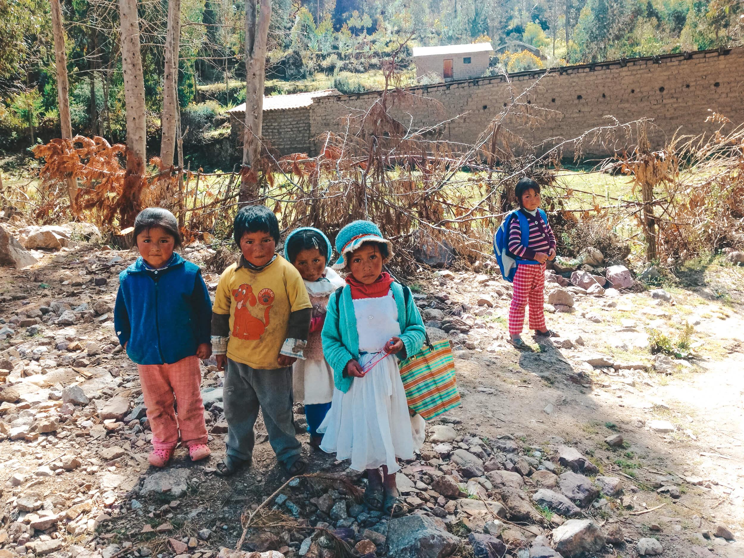 lares trek children voluntoursim peru - ochristine