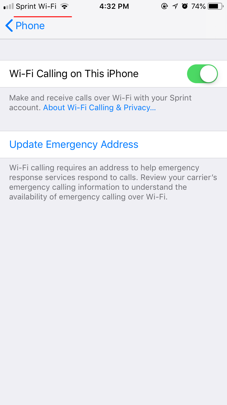 how to know when sprint wifi calling is on iphone - ochristine