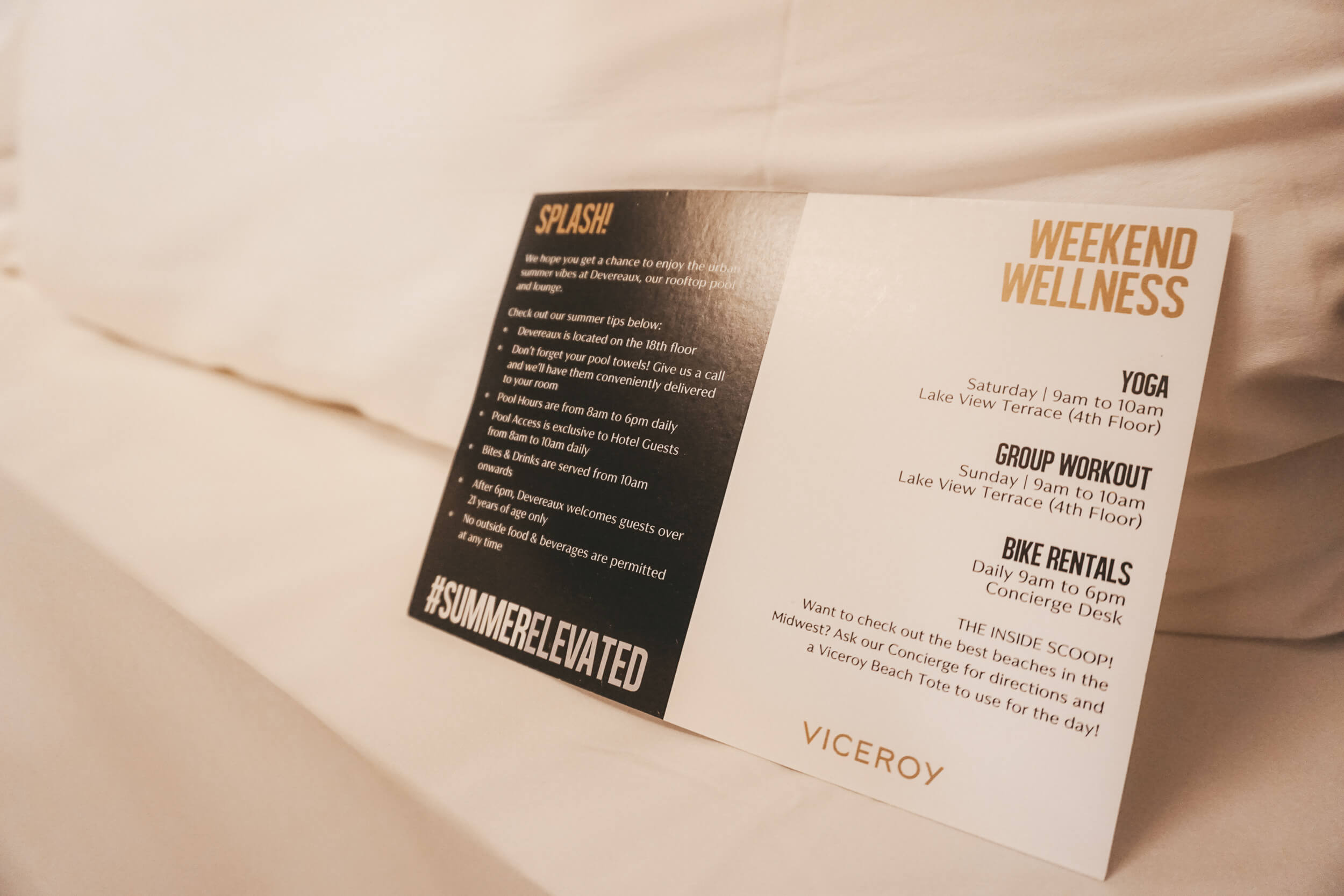 Wellness Schedule Card for Viceroy Chicago Hotel