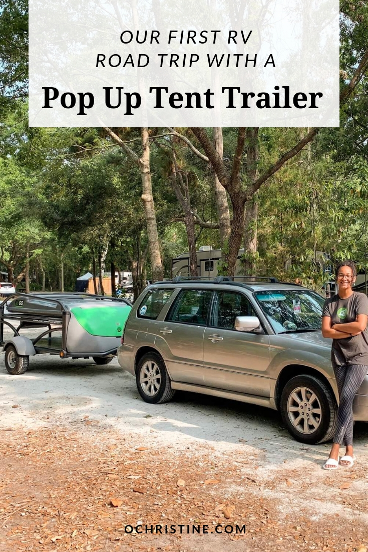 First time on an RV road trip pop up tent trailer - ochristine