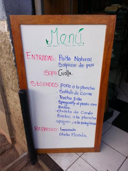 Comida Tipica Food Menu in Peru