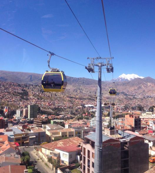 Cable car transportation in La Paz, Bolivia
