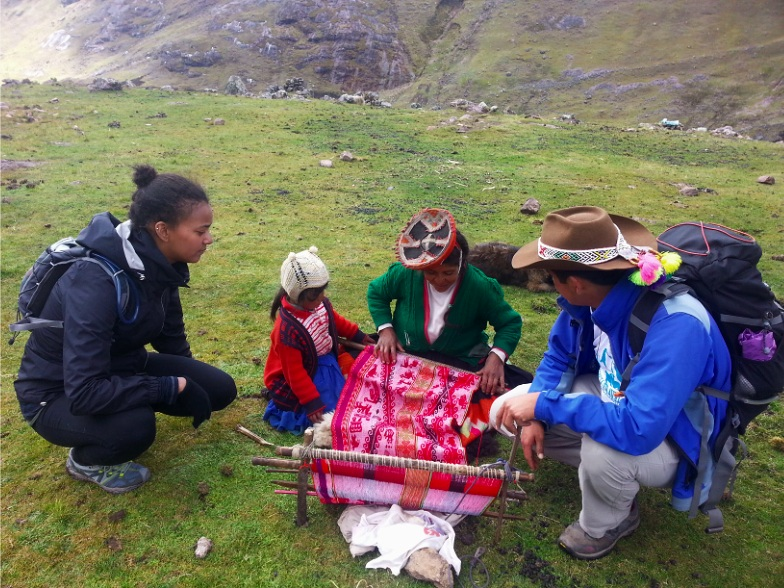 Speaking Spanish and learning Quechua and weaving with a local Andean family along my  hike to Machu Picchu via Lares Valley .