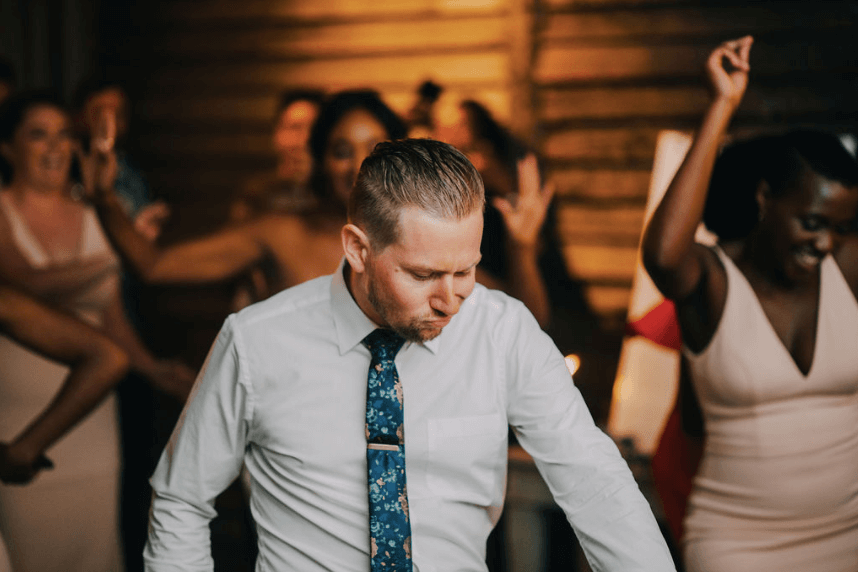 Groom dancing in the garden shed at Terrain at Styers in Glen Mills, PA