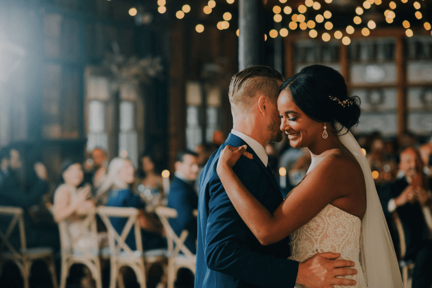 First dance at wedding reception in farmhouse venue at Terrain at Styers.