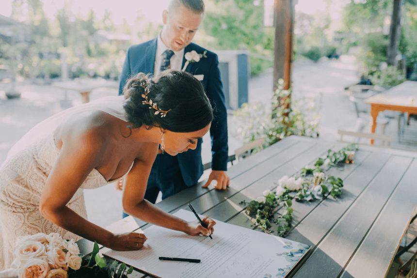 Bride and groom signing Quaker wedding certificate Photo credit: Alex Medvick Photography