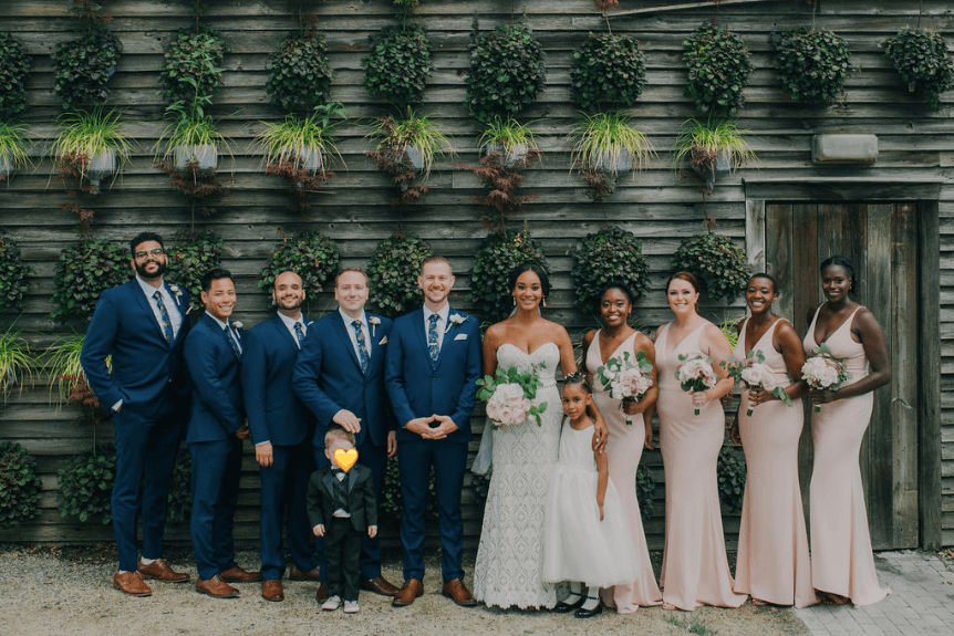 Wedding party: pink and navy blue   Terrain at Styers wedding Photo credit: Alex Medvick Photography
