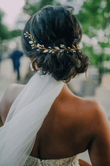 Black bridal hairstyle for afro hair - gold vine hair accessory Photo credit: Alex Medvick Photography