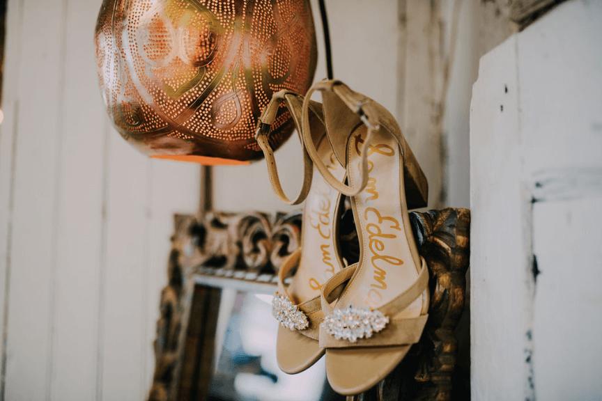 Boho wedding sandals with block heels and rhinestone clip accessory (Sam Edelman Oman) Photo credit: Alex Medvick Photography