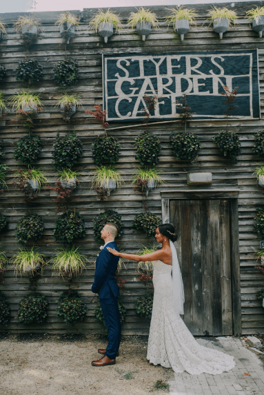 Bride and groom first look - Terrain at Styers Photo credit: Alex Medvick Photography
