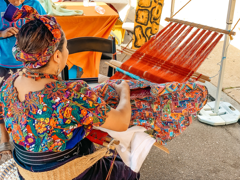 Guatemalan textile demonstration at Feria del Barrio in Philadelphia