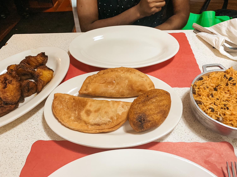 Maduros, pastelillos, alcapurria, and arroz con gandules at Freddys and Tonys Restaurant in Philadelphia