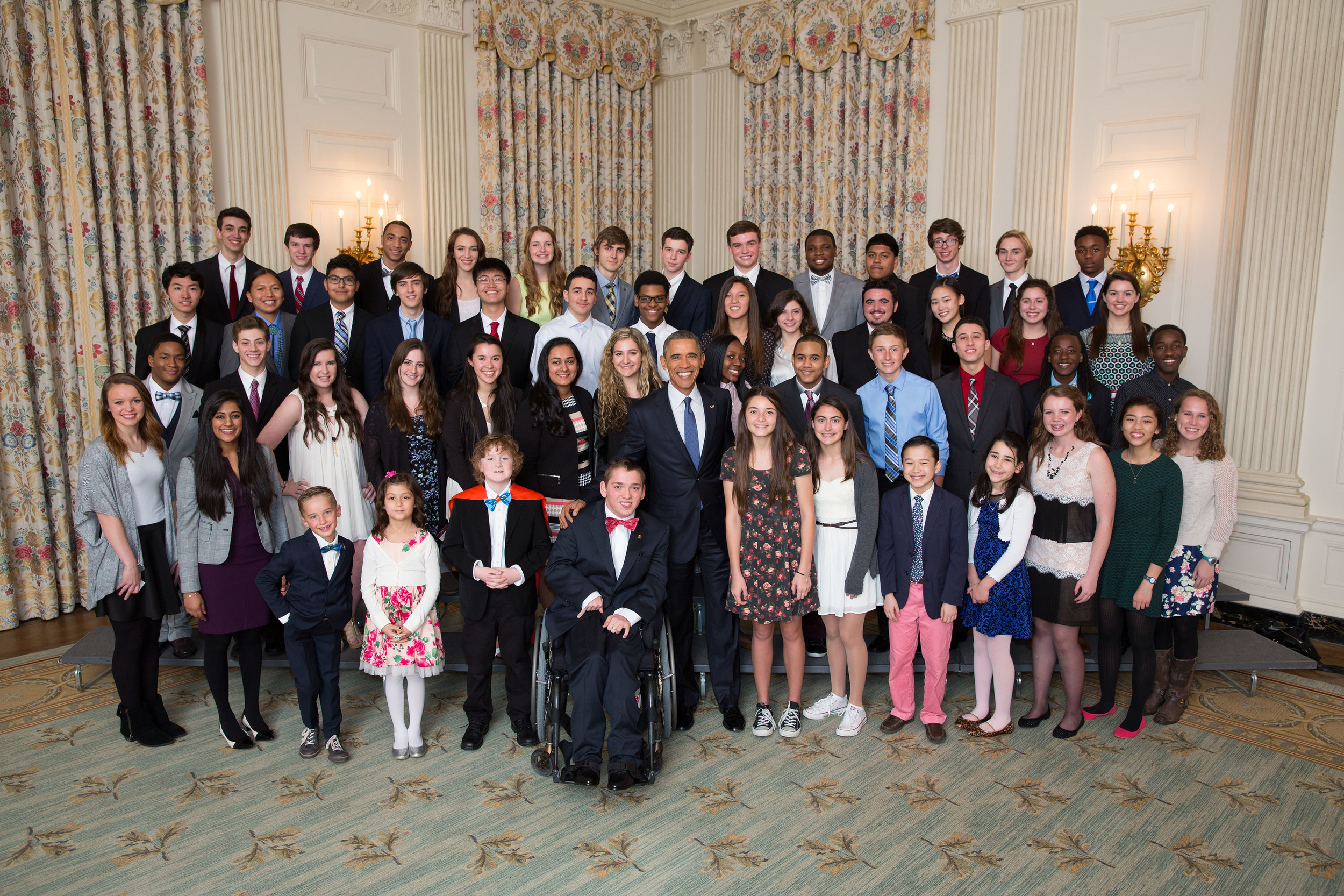 President Obama photo op with winners of 2015 White House Student Film Festival Official White House Photo by Pete Souza front.jpg