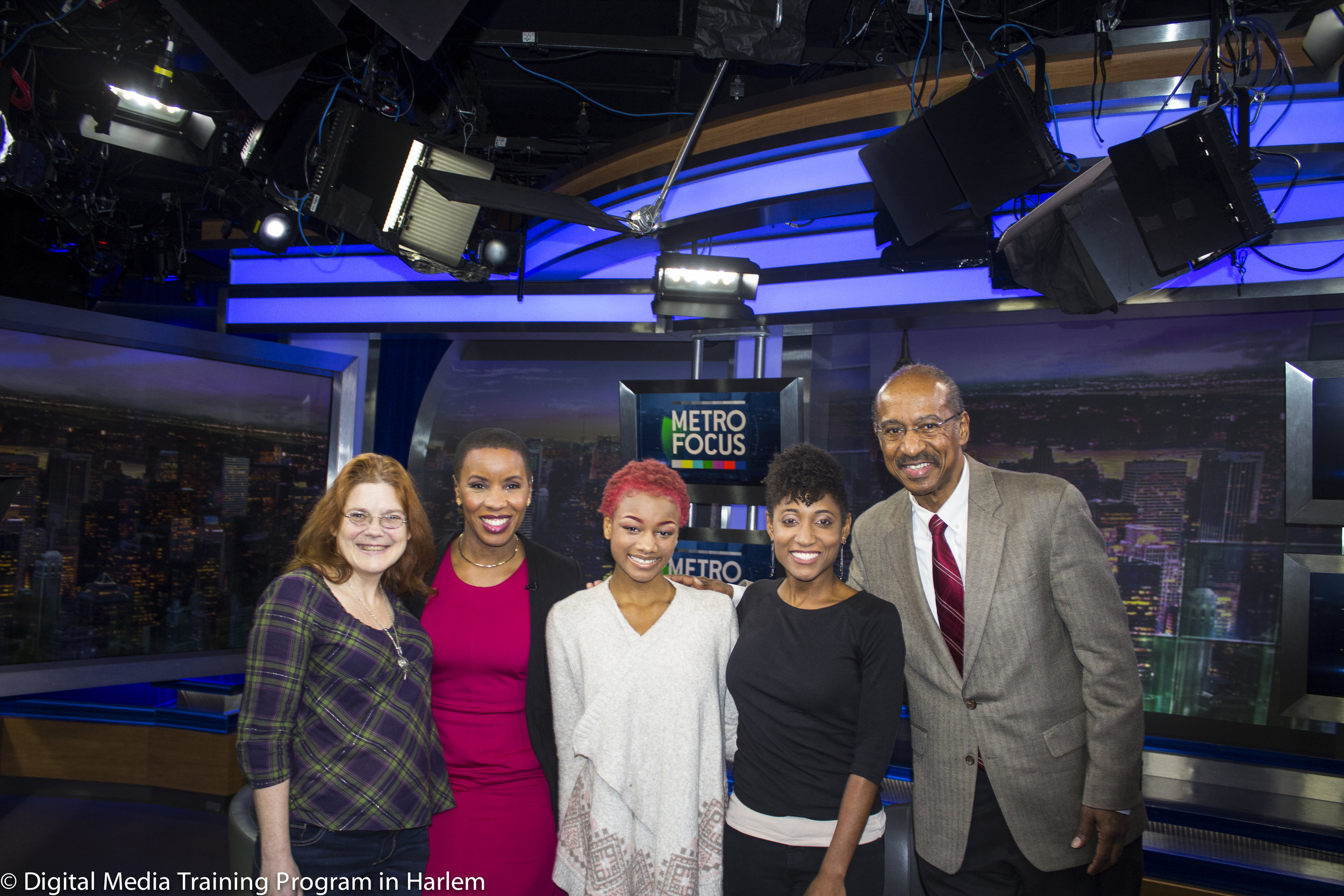 New Explorers High School teacher Joann Mariani, Jenna Flanagan, Aryon Holley and Jinah Parker, Digital Media Training Program Director Melvin McCray on the set of WNET's MetroFocus.jpg