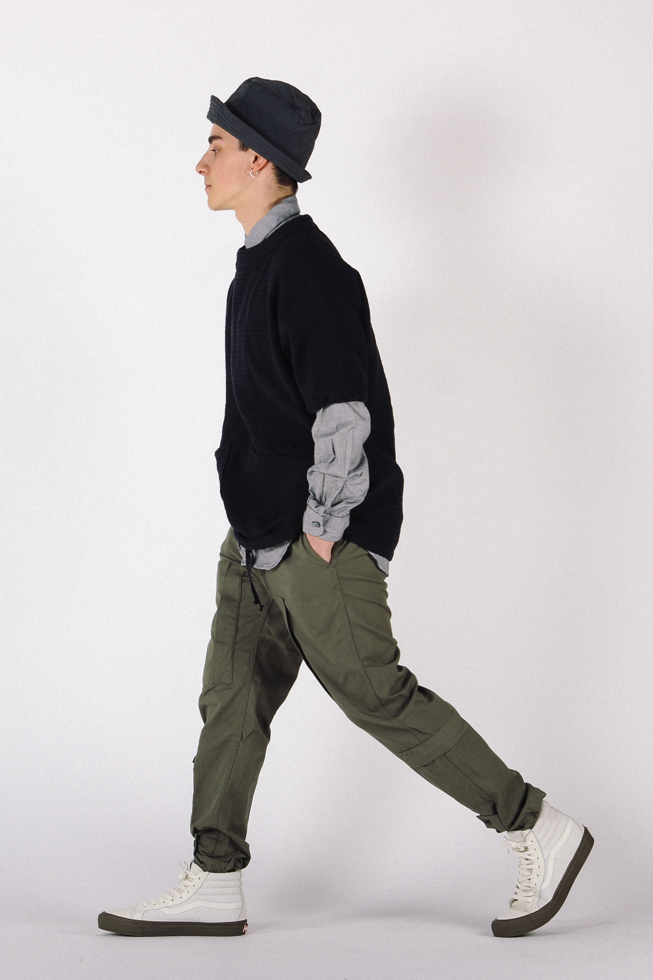 Hat: Engineered Garments Bucket Hat Top: Engineered Garments Smock Shirt Shirt: Engineered Garments Short Collar Shirt Pants: Engineered Garments Flight Pant Shoes: Vault by Vans Sk8-Hi LX