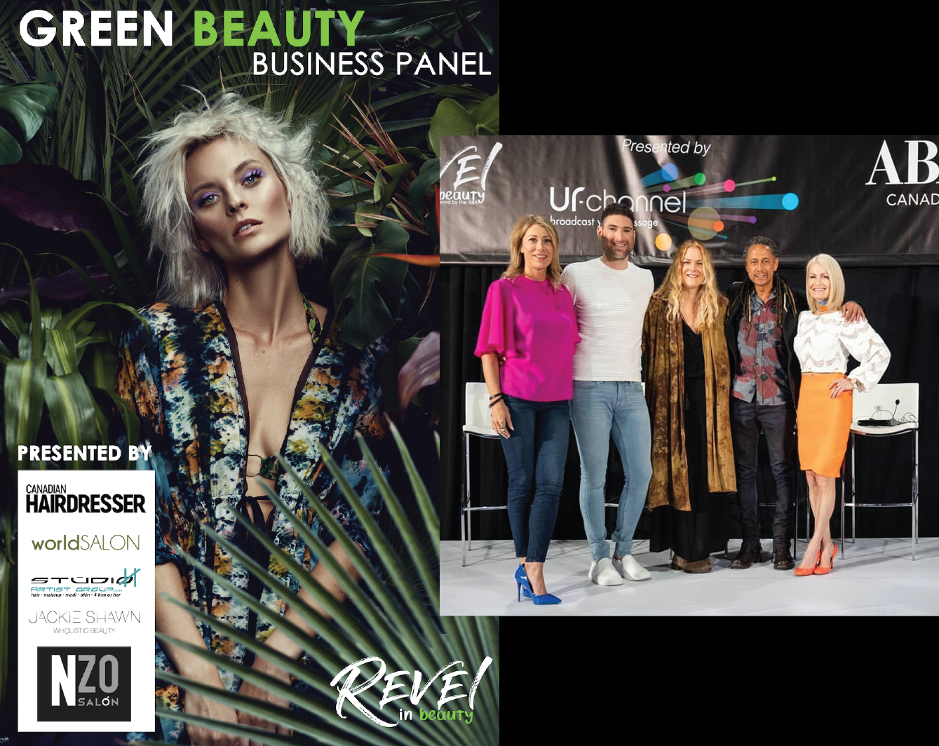 left > right: Host - Cheryl Gushue (Canadian Hairdresser Magazine Editor in Chief and Green Circle Salons Ambassador). Panel - Alex Chabot (NZO Salon), Jackie Shawn (Wholistic Beauty Lab/ WBLab), Brian Phillips (World Salon), Heather Wenman (Studio H Salon)