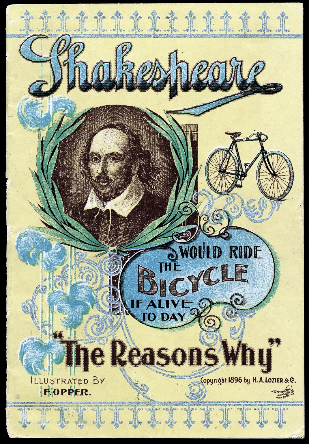 "Frederick Burr Opper, ""Shakespeare Would Ride the Bicycle If Alive Today: The Reasons Why"" (1896), Folger Digital Image Collection, Folger Shakespeare Library (ART Vol. e203)."