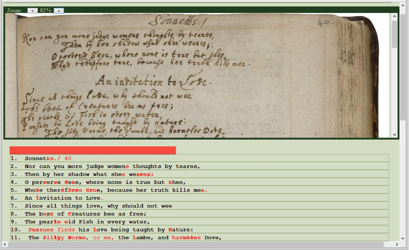 Dromio's collation feature. The black text indicates agreement among the four transcribers of this page, while the red text indicates disagreement. Notably, this page was transcribed by a Folger EMMO team member, a VCU administrator, a VCU English MA student, and a VCU undergraduate. (Thanks to Mike Poston for the screenshot.)