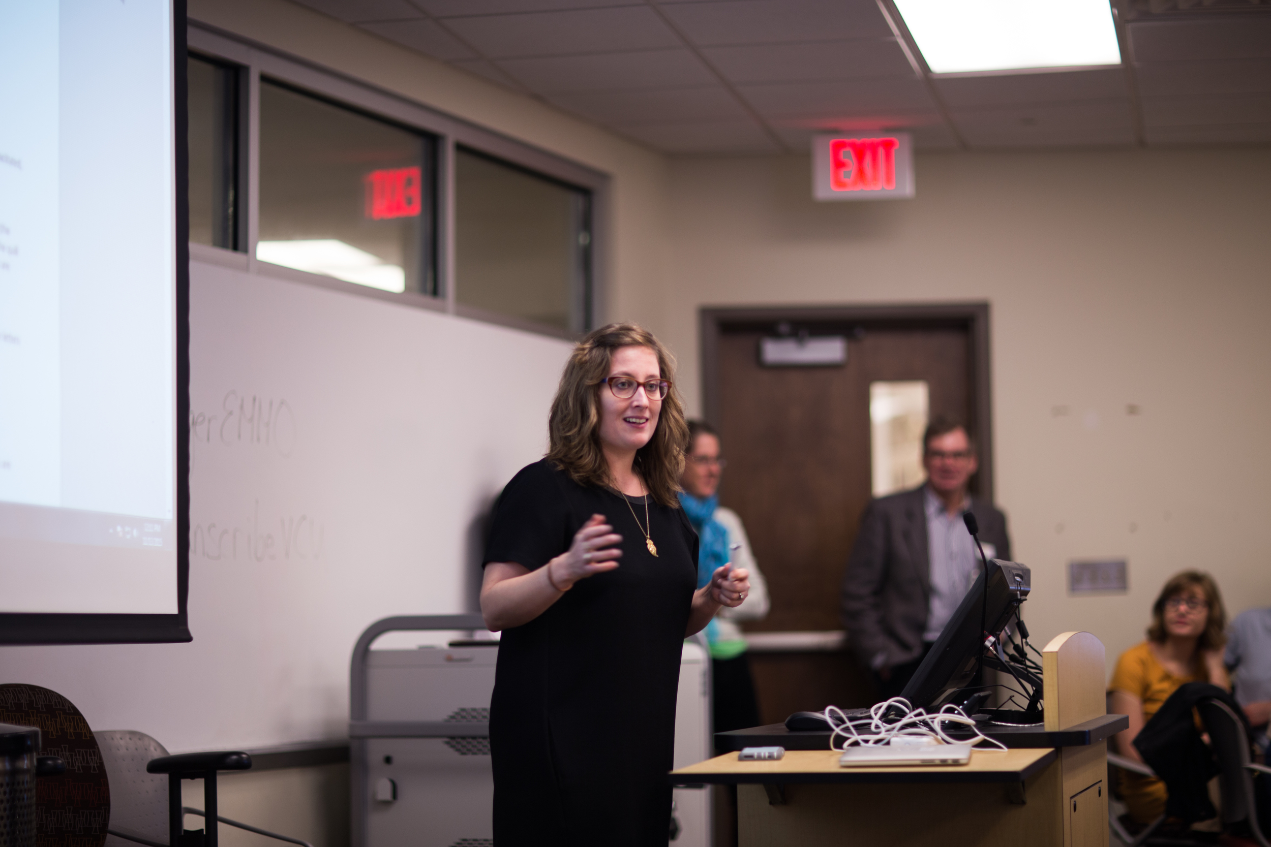 Here I am (gesticulating enthusiastically about accessibility) at the beginning of the transcribathon. Photo by Tom Woodward.