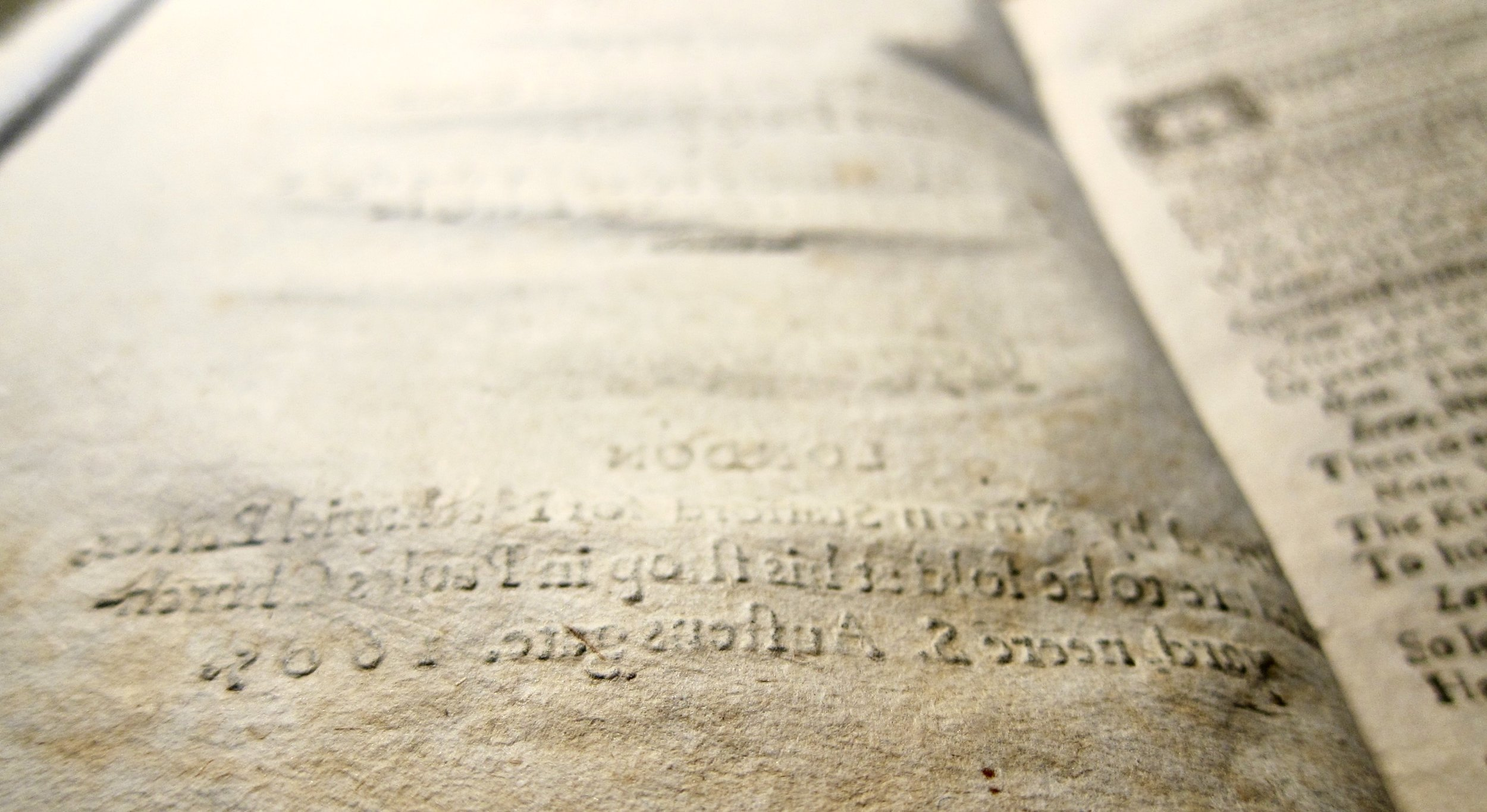 The deep bite of type on the recto of the title page of  The Trial of Chivalry  (1605), STC 24935a, Folger Shakespeare Library.