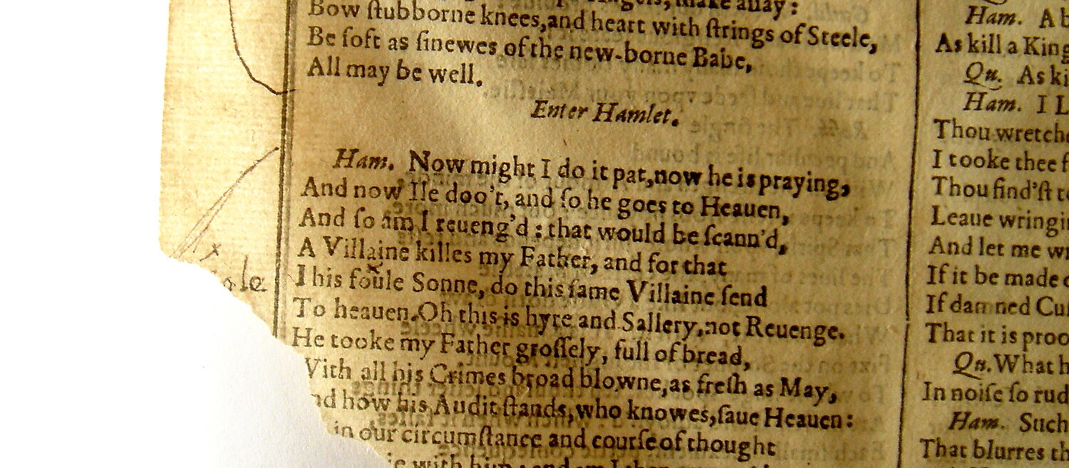 Detail of manuscript emendation and bracketing in the Free Library of Philadelphia's copy of  Mr William Shakespeares Comedies, Histories, & Tragedies  (1623). [Image reproduced with kind permission of the Free Library of Philadelphia.]