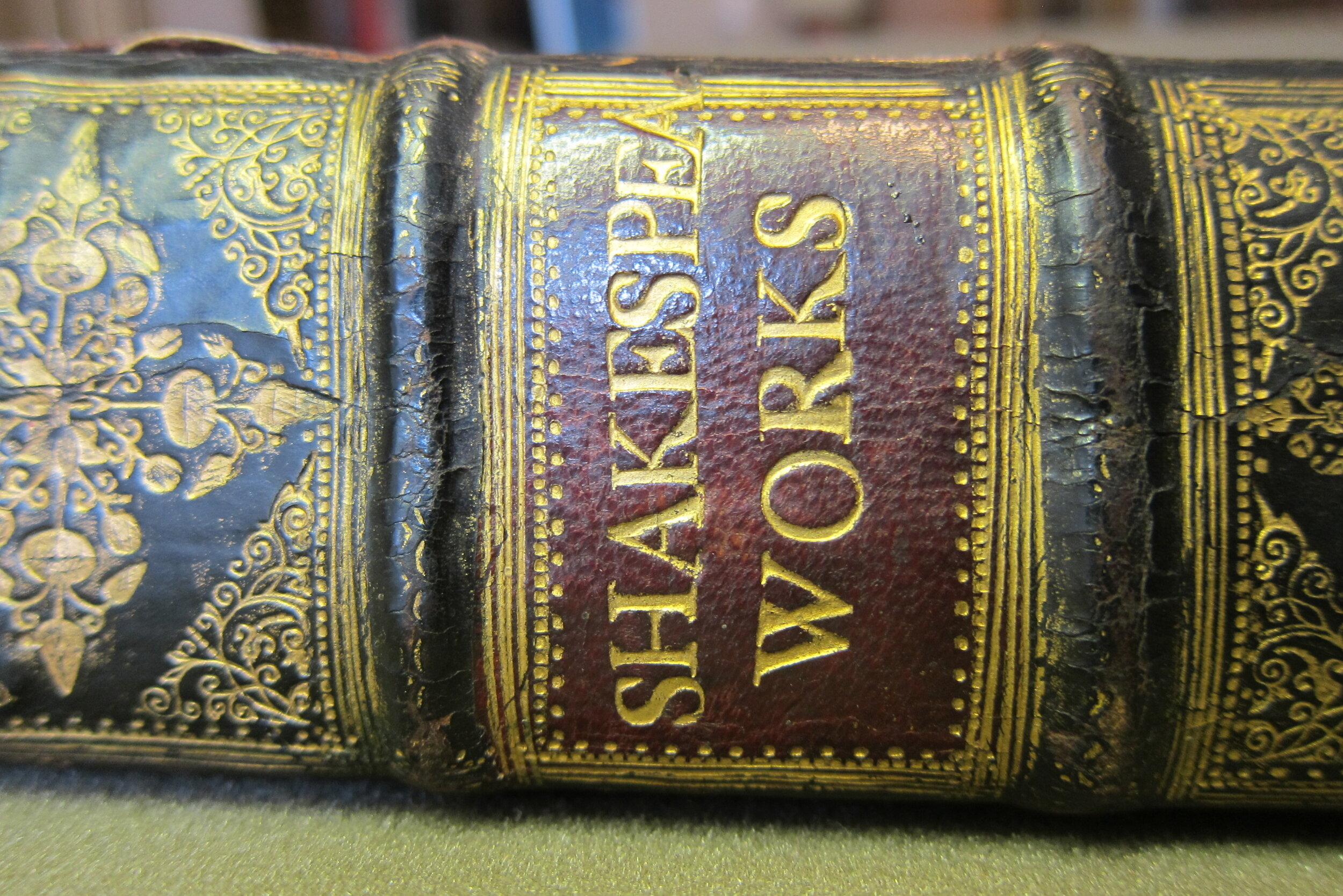 The spine of the book's current binding, which dates to the late seventeenth century. [Image reproduced with kind permission of the Free Library of Philadelphia.]