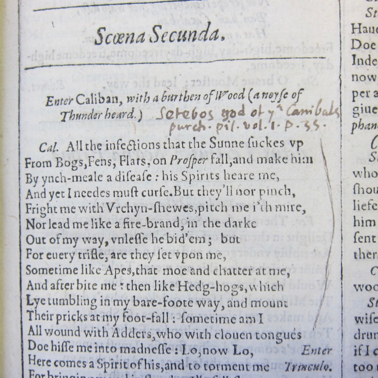 """A reference to Samuel Purchas'  Pilgrimes  (1625) in """"The Tempest."""" [Image reproduced with kind permission of the Free Library of Philadelphia.]"""