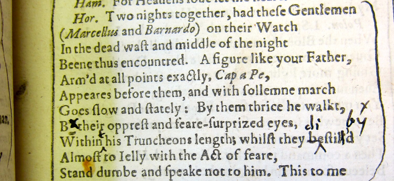"""A set of emendations in """"Hamlet."""" [Image reproduced with kind permission of the Free Library of Philadelphia.]"""
