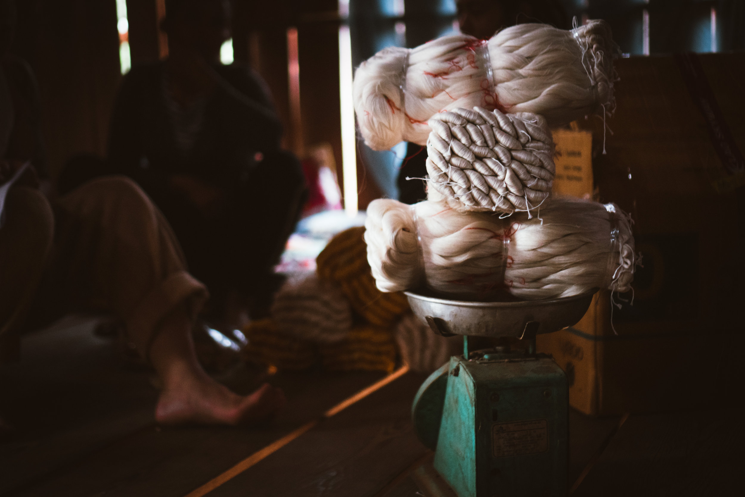 Weighing Raw Silk, Xiang Khouang, Laos