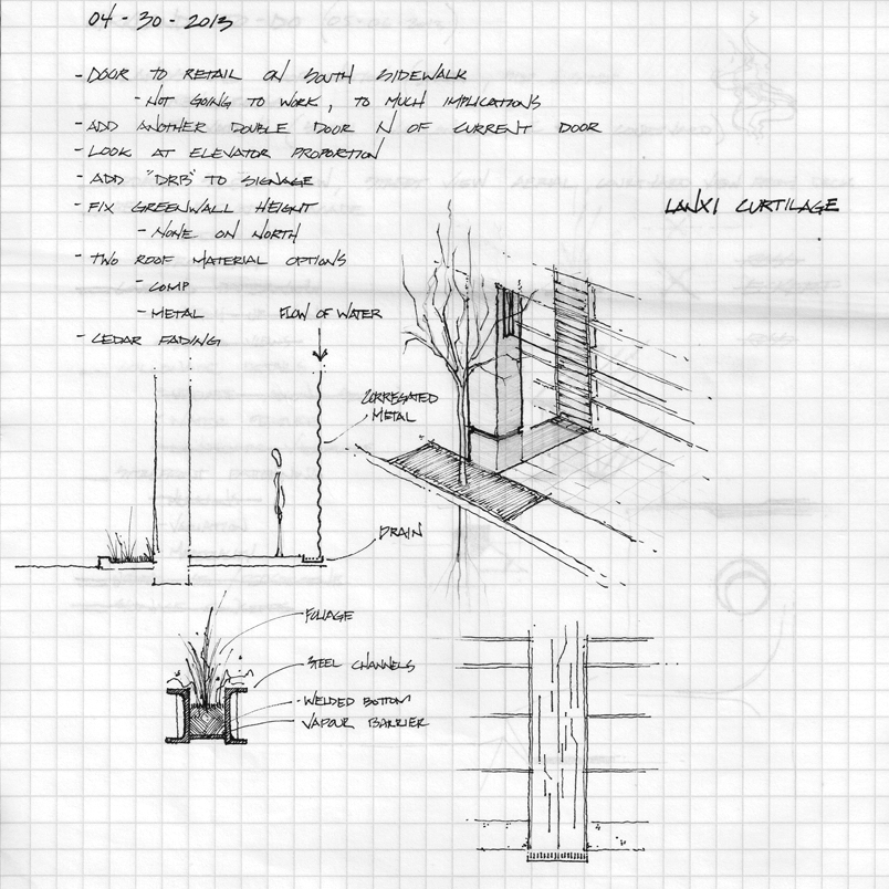 Concept sketches of column details