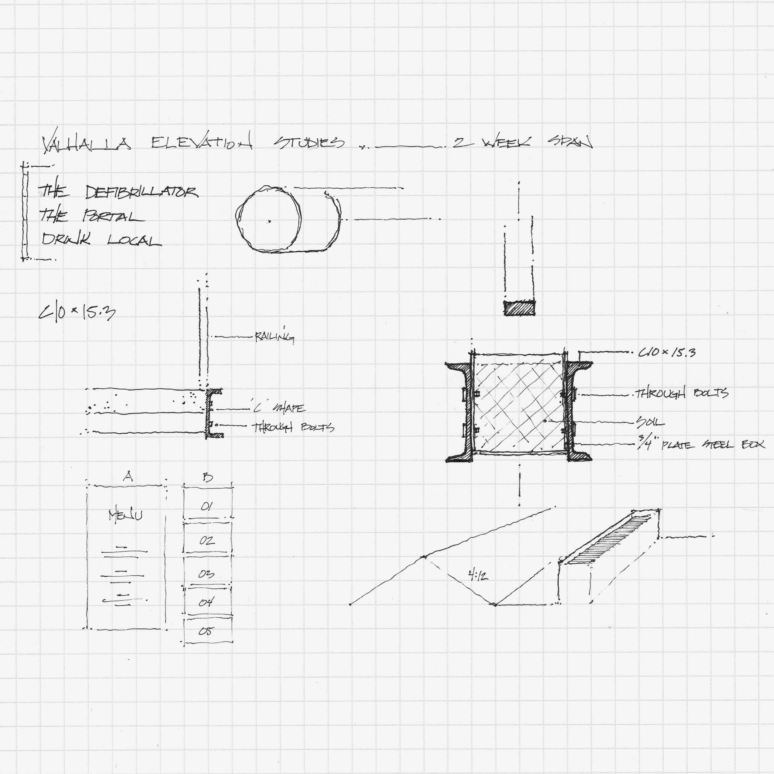 Concepts sketches of planter details