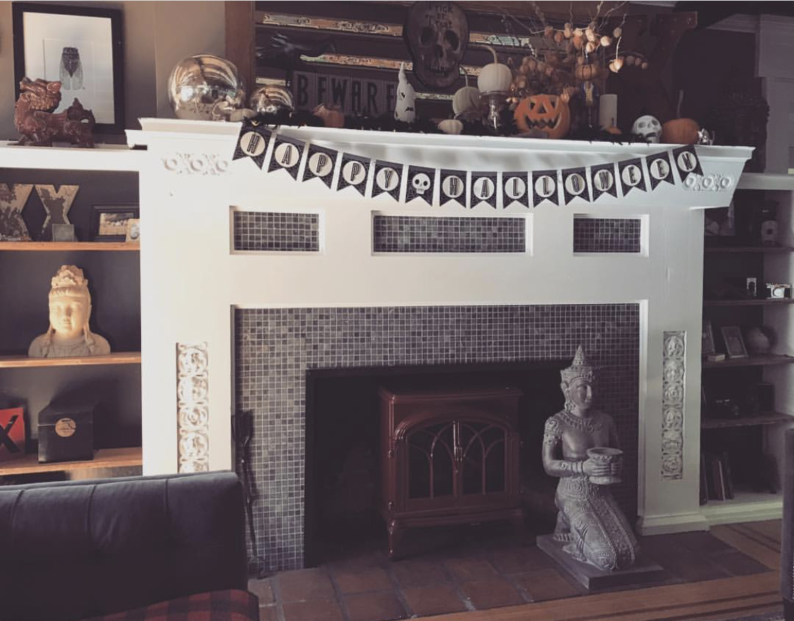 Living Room Fireplace at Halloween