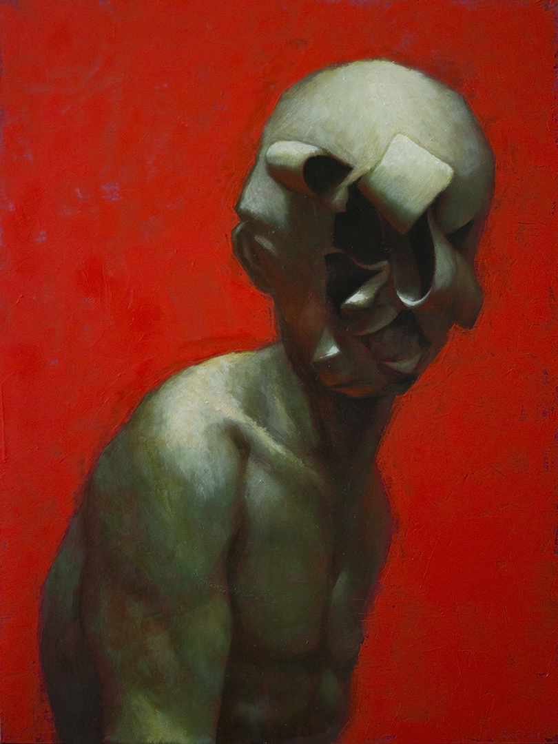 """א"", Oil on board, 2019"